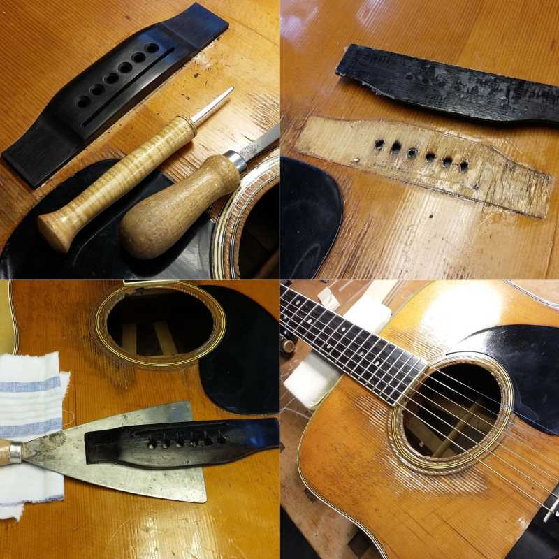 restoration Martin Dreadnought new bridge Bosma guitars Dordrecht